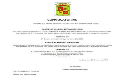 Convocatoria Asamblea Extraordinaria 27 sep.