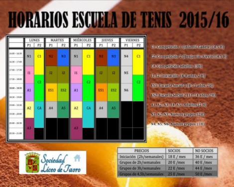 Horarios Escuela de Tenis 2015/2016
